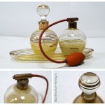 Набор парфюмерный из трех предметов: флакон для одеколона, флакон с помпой и лоток-подставка. Производство ГДР, 1960-е гг.