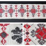 Салфетка, миткаль, нитки х/б цветные, вышивка ручная крестом, 1 половина ХХ в.