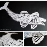 Салфетка «Рыба», бязь, нитки х/б белые, вышивка «ришелье» машинная, 1960-80 гг.