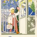 Открытка новогодняя, художник Д.И.Денисов, Пермская печатная фабрика Гознака, 1964 г.