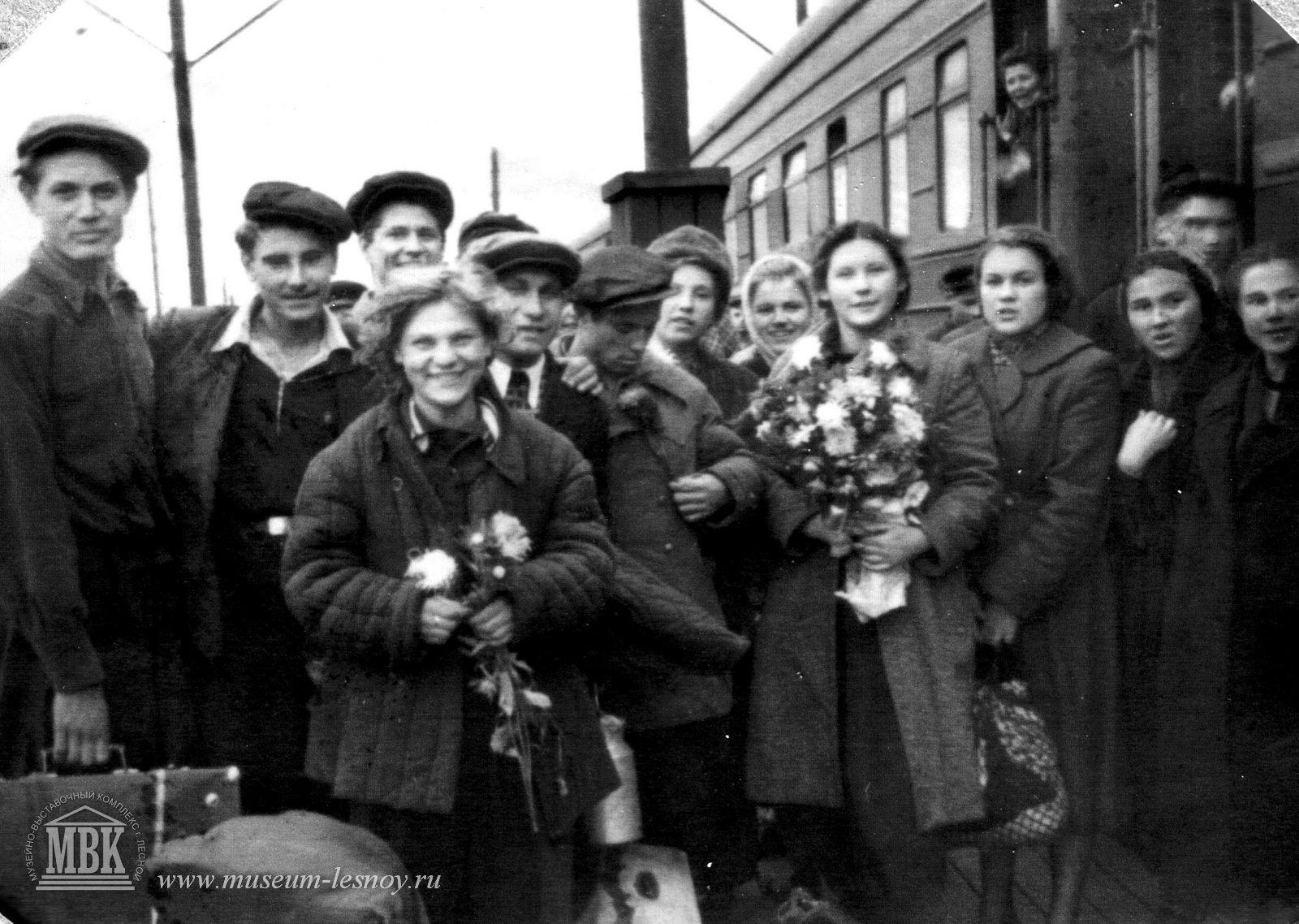 Приезд первых строителей, 1949 г.