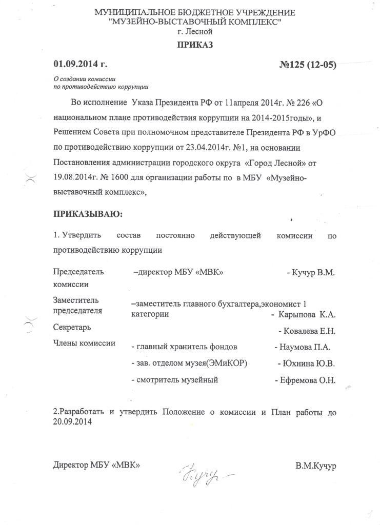 Приказ о создании комиссии в МВК 1