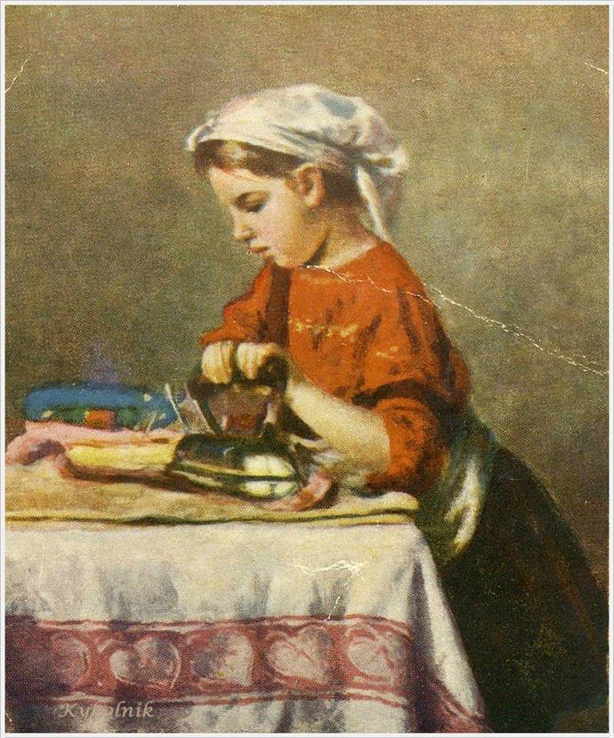 Игорь Иванович Ершов, «Маленькая дочь Ксения гладит», 1950