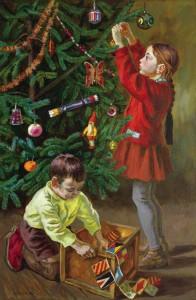 Эльза Хохловкина «Дети у елки», 1970 г.