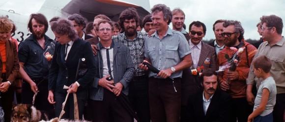 Встреча участников Полярэкс, аэродром с. Таёжный, 1983 г. фото С.Е. Федоровского.