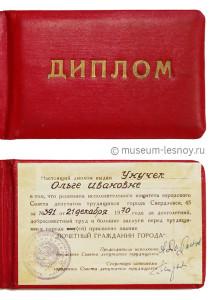 Диплом Почетного гражданина города Унучек О.И.
