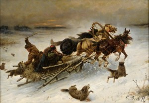 Константин Баумгартнер-Стойлов. Тройка лошадей, преследуемая волками. около 1900 г.