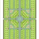 План городского сквера, Свердловск-45, 1955 г., рисунок автора