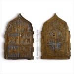 Четырёхстворчатый складень «Двунадесятые праздники», третья створа, лицевая и оборотная стороны, медный сплав, литьё, эмаль, XIX в.