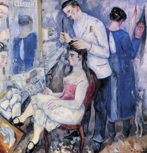 Ларионов Михаил Фёдорович (1881-1964) - Девушка у парикмахера (1920)